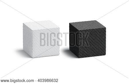 Blank Wicker Black And White Cube Mockup Set, 3d Rendering. Empty Wickerwork Or Braided Cuboid Shape
