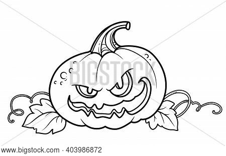 Terrible Lantern From Pumpkin With The Cut Out Of Grin, Mustache And Leaves Outlined For Coloring Pa