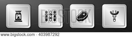 Set Barbecue Coal Bag, Grilled Shish Kebab, Steak Meat And Sausage On The Fork Icon. Silver Square B