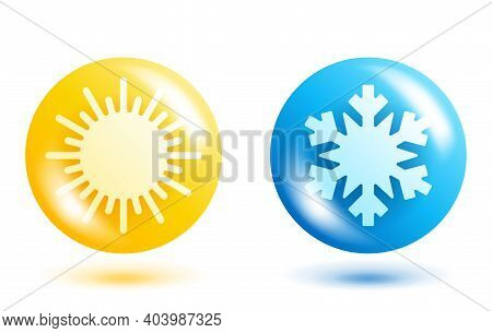 Weather 3d Icons For Climate Control Icon With Temperature Rising And Lowering - Sun And Snowflake I