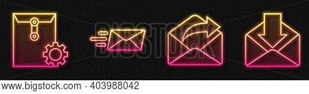 Set Line Outgoing Mail, Envelope Setting, Express Envelope And Envelope. Glowing Neon Icon. Vector