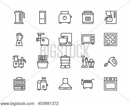 Kitchen Appliances Line Icon Set. Vector Illustration Household Equipment For Cooking. Editable Stro