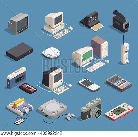 Different Retro Gadgets Isometric Icons Set With Computer Player Recorder Console Phone Camera 3d Is