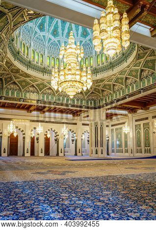 Muscat, Oman, December 3, 2016: Main prayer hall of the Sultan Qaboos Grand Mosque in Muscat, Oman