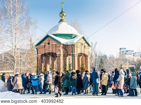Barnaul. Russia. January 19, 2021. Believers Came To The Church Of The Epiphany Of The Lord In Bapti