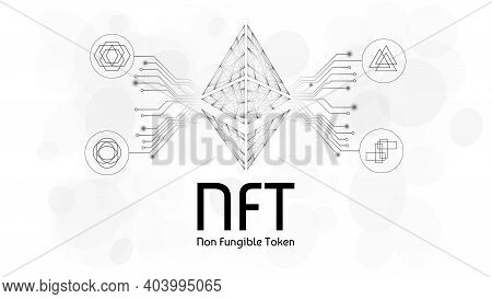 Nft Non Fungible Tokens Infographics With Pcb Tracks And Different Tokens On White Background. Pay F