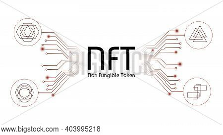 Nft Non Fungible Tokens Infographics With Different Tokens And Pcb Tracks Isolated On White. Pay For