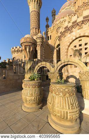 Sharm El Sheikh, Egypt - November 20, 2019: Al Mustafa Mosque, A Large Islamic Temple In The City Ce