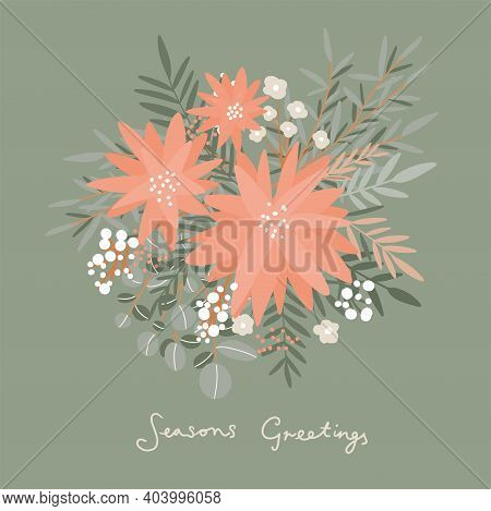 Winter Flowers. Hand Drawn Poinsettia Flowers And Floral Branches And Berries, Mistletoe, Eucalyptus