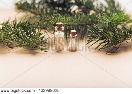 Glass Containers With Homeopathic Granules On Pine Background. Homeopathy, Naturopathy And Alternati
