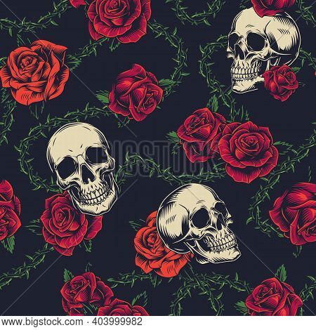 Colorful Tattoos Vintage Seamless Pattern With Beautiful Flowers Skulls And Barbed Wire On Dark Back