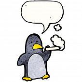 penguin smoking cigarette poster