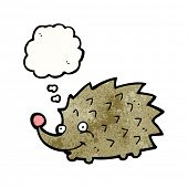 cartoon hedgehog with thought bubble poster