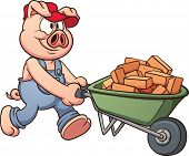 Pig with wheelbarrow. Vector clip art illustration with simple gradients. All in a single layer. poster
