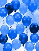 Celebration or birthday Party blue balloons background poster