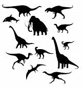 Vector image of silhouettes of prehistoric animals poster
