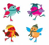 Image of cartoon birds that are engaged in skating. poster