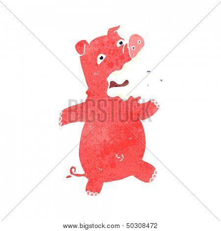 retro cartoon squealing pig
