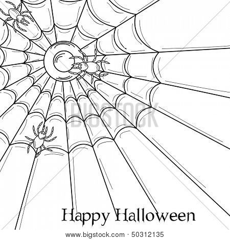Happy Halloween poster, banner or flyer for night parties with spiderweb.