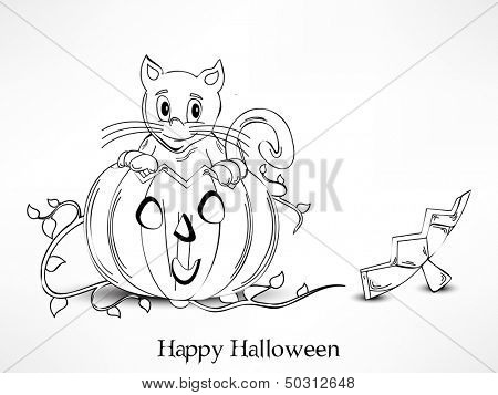 Poster, banner or flyer for Halloween party night with sketch of scary pumpkins and domestic cat on abstract grey background.