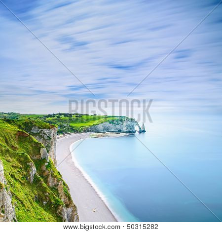 Etretat Aval cliff rocks and natural arch landmark and blue ocean. Aerial view. Normandy France Europe. poster