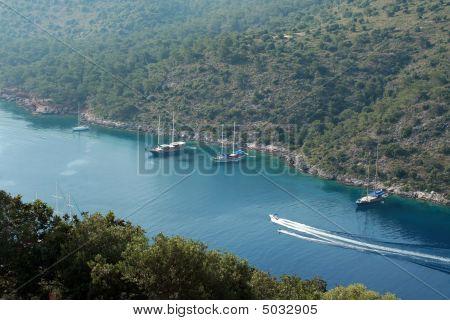 Many Sailboats And Water Ski
