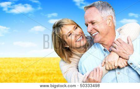 Happy Senior couple portrait. Elderly man and woman.
