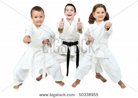 poster of On a white background little children express the delight of karate lessons