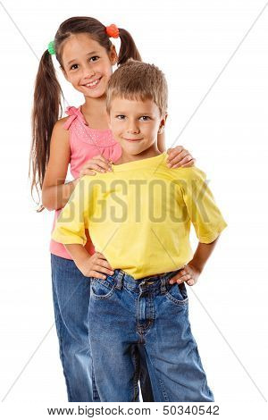 Two kids standing together