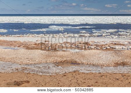 Ice breaking up on Cavendish Beach, Prince Edward Island.