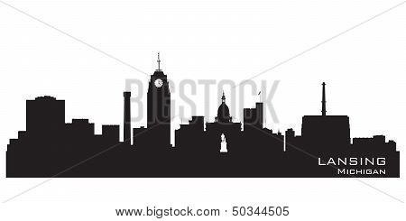 Lansing Michigan City Skyline Vector Silhouette