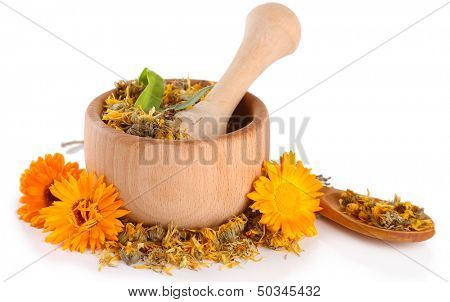 Fresh and dried calendula flowers in wooden mortar  isolated on white