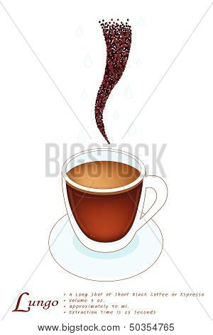 Lungo Coffee In A White Glass Cup