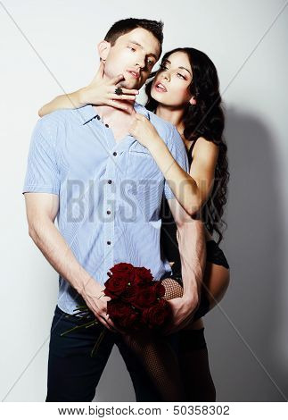 Affection. Bonding. Seductive Couple - Man And Woman Embracing