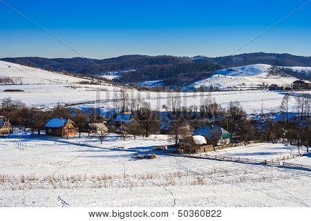 Winter Landscape View Of The Village