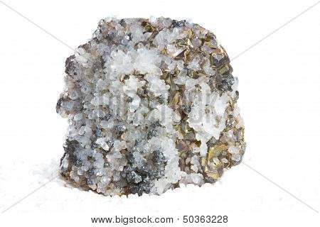 Specimen of white calcite crystals and metallic brass-yellow iron pyrites or fools gold an abundant mineral mined as an iron ore and also used to produce sulphur dioxde for making sulphuric acid poster