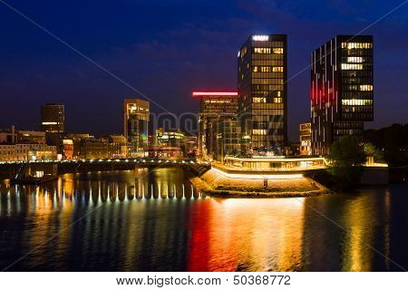 Business District Of D�sseldorf At Night
