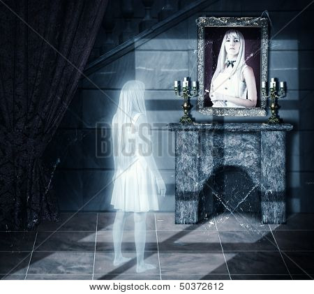 Sad Ghost Looking On Portrait