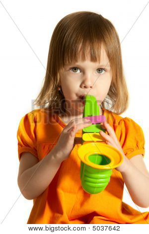Girl With Toy Saxophone