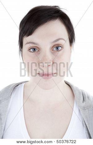 Ordinary girl in sweatshirt on white background