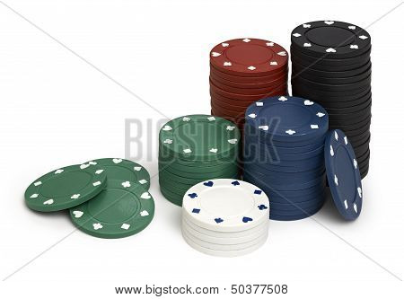 Casino Tokens, Isolated On White Background