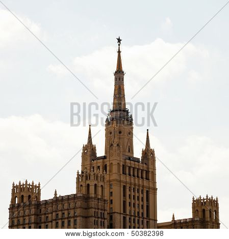 stalinist high-rise - kudrinskaya square building in Moscow poster