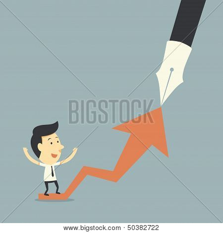 Businessman On Graph Of Successful Growth
