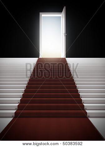 Stair with illuminated door