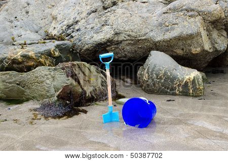 Child's bucket and spade