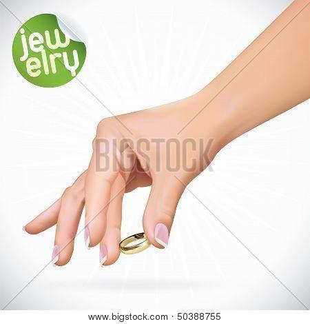 Hand Holding Gold Wedding Rings Illustration