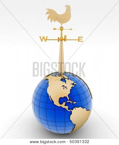 Weathercock and globe. 3d illustration on white background.