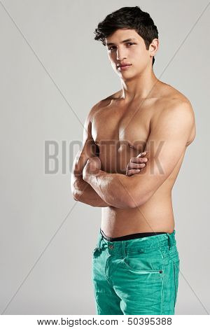 Young casual shirtless man