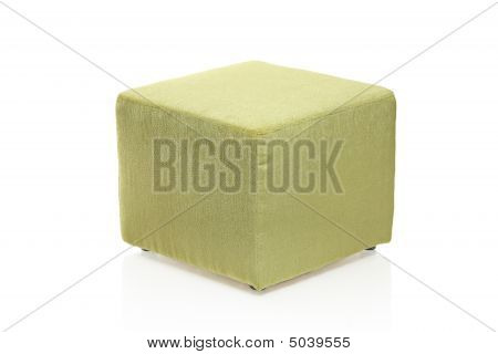 Green Footstool Isolated Against White Background