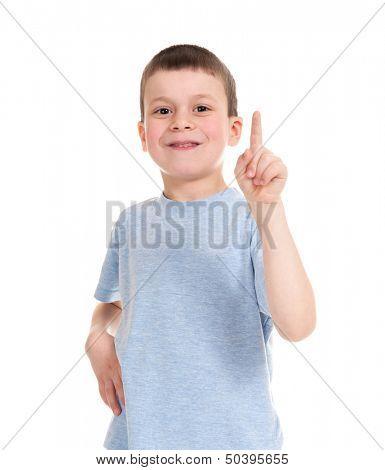 boy points finger up